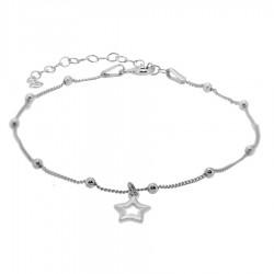 Pulsera plata estrella bolitas