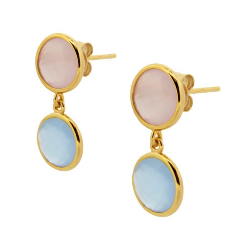 909c62ec0188 Pendientes plata baño oro piedras rosa pastel