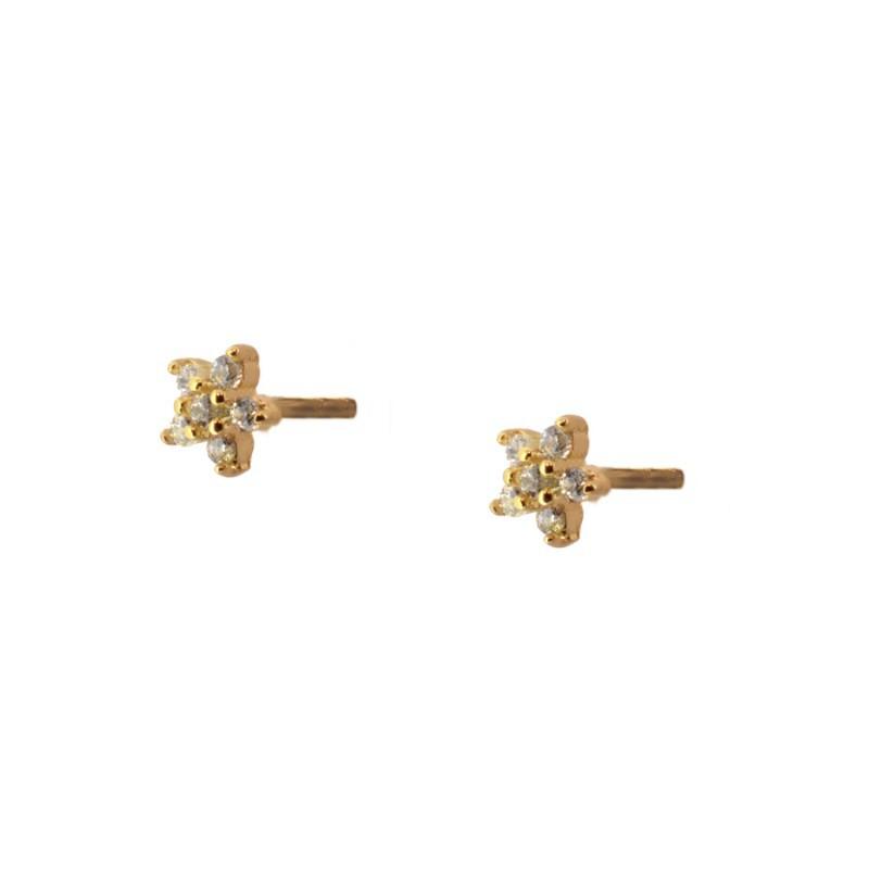 4dc6b85d810a Pendiente mini estrella circonita plata baño oro