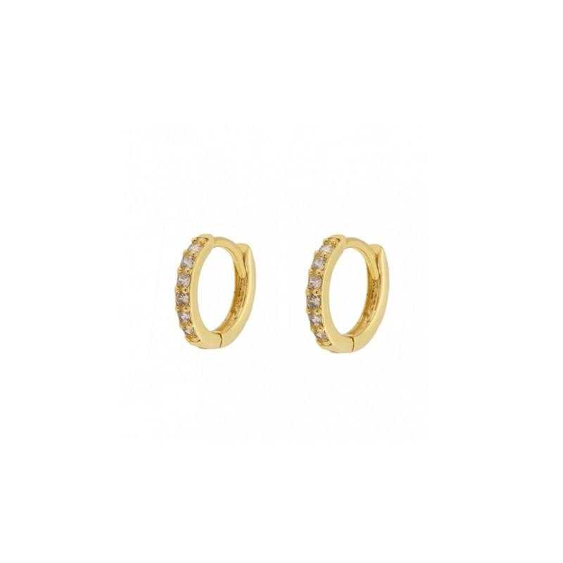33c4bdc36c3e Pendiente aro mini circonita blanca plata baño oro
