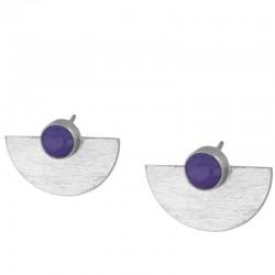 Pendiente cuarzo violeta plata