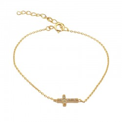 Pulsera cruz plata baño oro