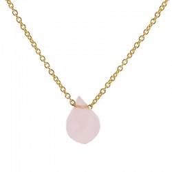 Collar piedra rosa plata...