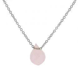 Collar piedra rosa plata
