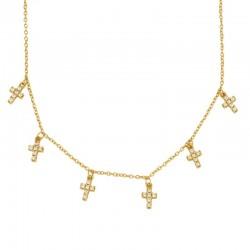 Collar 6Cruces plata baño oro