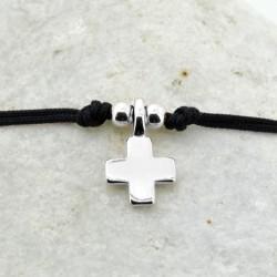 Pulsera cordón Cruz plata