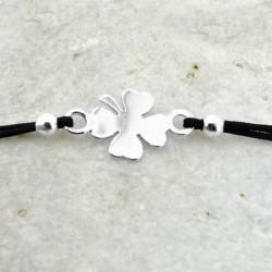 Pulsera cordón Trebol plata