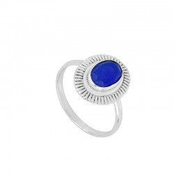 Anillo Duna azul plata