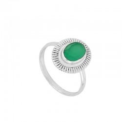 Anillo Duna verde plata