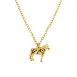 Collar Zebra plata baño oro