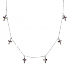 Collar Cruces multicolor plata