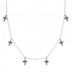Collar Cruces multicolor plata