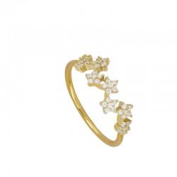 Anillo Flower plata baño oro