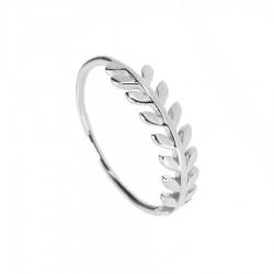 Anillo plata corona hojas