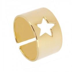 Anillo plata baño oro estrella